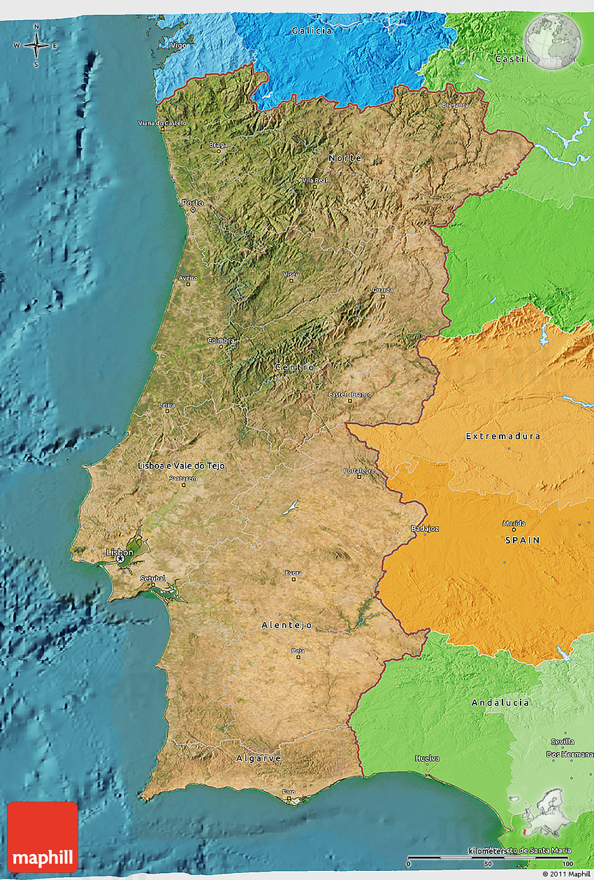 Satellite D Map Of Portugal Political Outside Satellite Sea - Portugal map sea