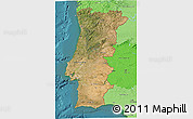 Satellite 3D Map of Portugal, political shades outside, satellite sea