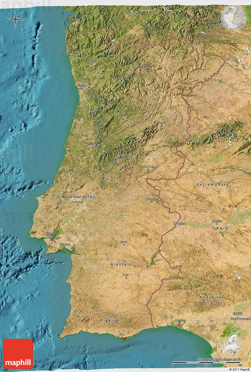 Satellite D Map Of Portugal - Portugal map satellite