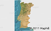 Satellite 3D Map of Portugal, single color outside