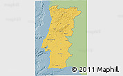 Savanna Style 3D Map of Portugal, single color outside