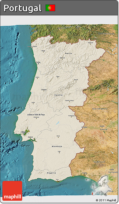 Free Shaded Relief D Map Of Portugal Satellite Outside - Portugal map satellite