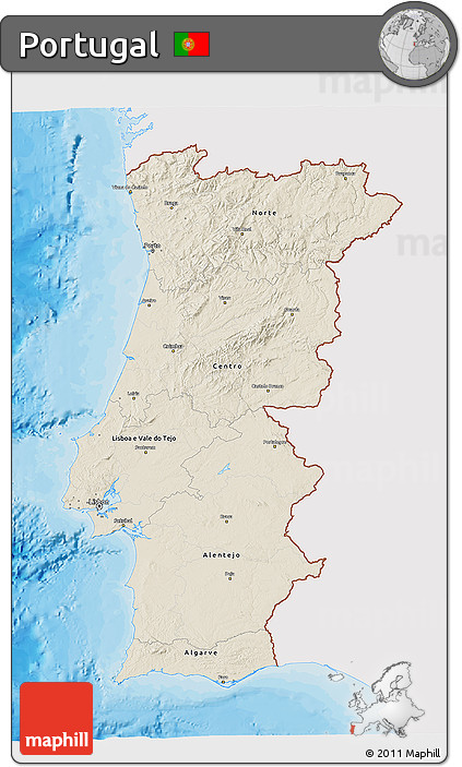 Free Shaded Relief D Map Of Portugal Single Color Outside - Portugal map sea