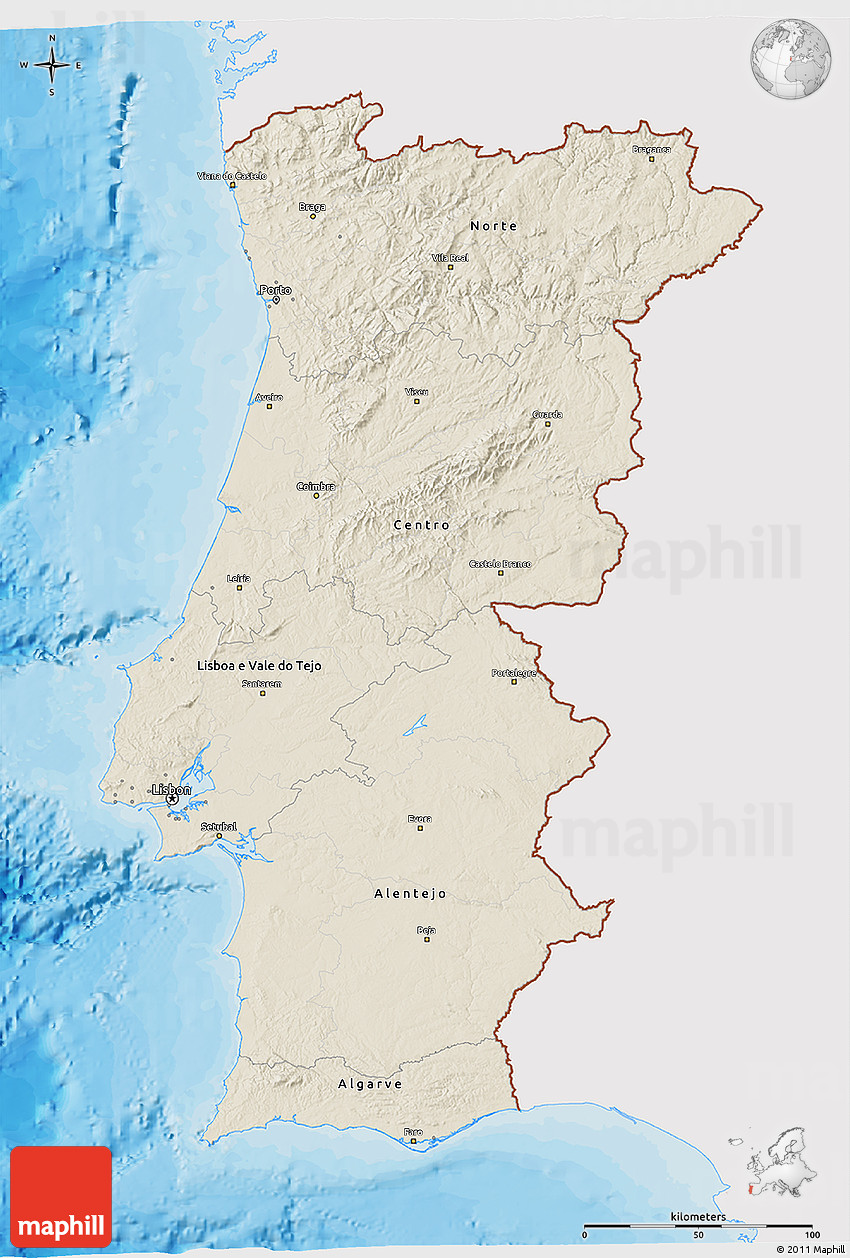 Shaded Relief D Map Of Portugal Single Color Outside Bathymetry - Portugal map sea
