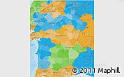 Political 3D Map of Alentejo