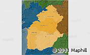 Political Shades 3D Map of Alentejo, darken