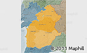 Political Shades 3D Map of Alentejo, semi-desaturated
