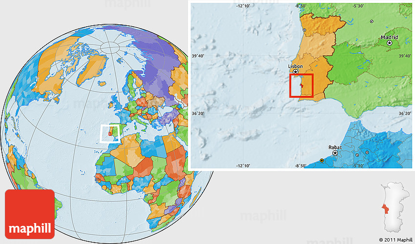 Political Location Map Of Sines - Portugal map sines
