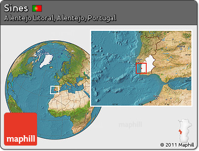 Free Satellite Location Map Of Sines Highlighted Grandparent Region - Portugal map sines
