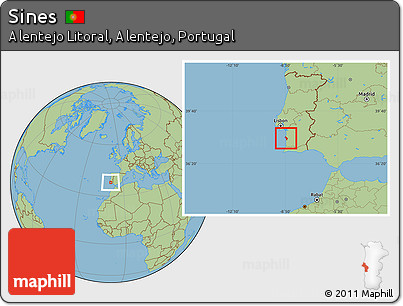 Free Savanna Style Location Map Of Sines - Portugal map sines