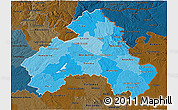 Political Shades 3D Map of Alto Alentejo, darken