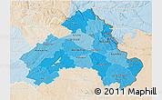 Political Shades 3D Map of Alto Alentejo, lighten