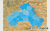 Political Shades 3D Map of Alto Alentejo, satellite outside