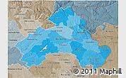 Political Shades 3D Map of Alto Alentejo, semi-desaturated