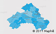 Political Shades 3D Map of Alto Alentejo, single color outside