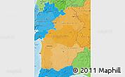 Political Shades Map of Alentejo