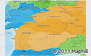 Political Shades Panoramic Map of Alentejo