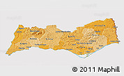 Political Shades 3D Map of Algarve, cropped outside