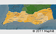 Political Shades 3D Map of Algarve, darken