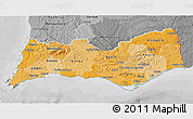 Political Shades 3D Map of Algarve, desaturated