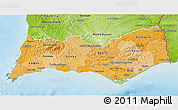 Political Shades 3D Map of Algarve, physical outside