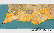 Political Shades 3D Map of Algarve, satellite outside