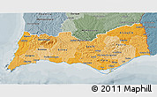 Political Shades 3D Map of Algarve, semi-desaturated