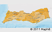 Political Shades 3D Map of Algarve, single color outside