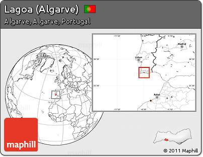 Worksheet. Free Blank Location Map of Lagoa Algarve highlighted
