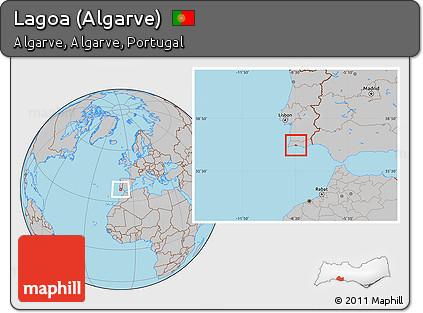 Worksheet. Free Gray Location Map of Lagoa Algarve