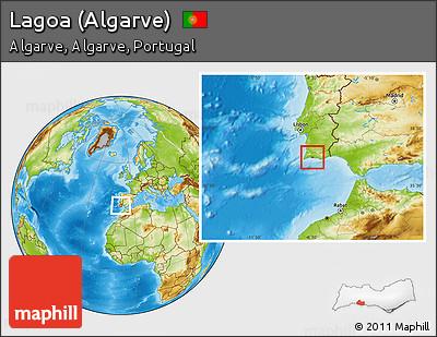 Worksheet. Free Physical Location Map of Lagoa Algarve