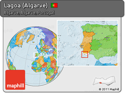 Worksheet. Free Political Location Map of Lagoa Algarve highlighted