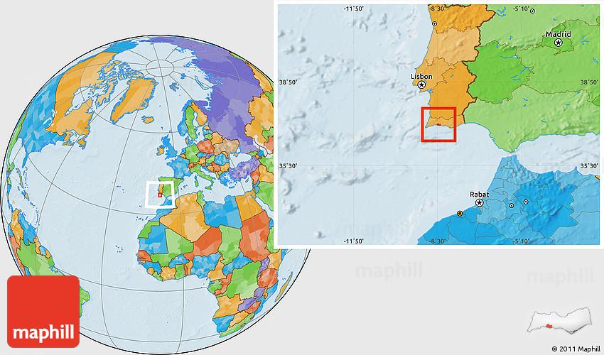 Political Location Map of Lagoa Algarve