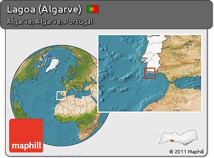 Worksheet. Free Satellite Location Map of Lagoa Algarve highlighted