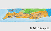 Political Shades Panoramic Map of Algarve