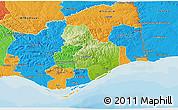 Physical 3D Map of Tavira, political outside