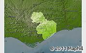 Physical Map of Tavira, darken