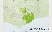 Physical Map of Tavira, lighten