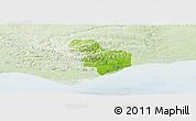 Physical Panoramic Map of Tavira, lighten