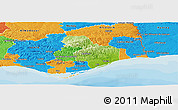 Physical Panoramic Map of Tavira, political outside