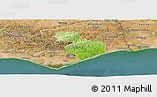 Physical Panoramic Map of Tavira, satellite outside