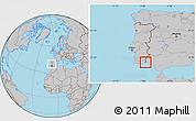 Gray Location Map of Vila Real de Santo Antonio, within the entire country