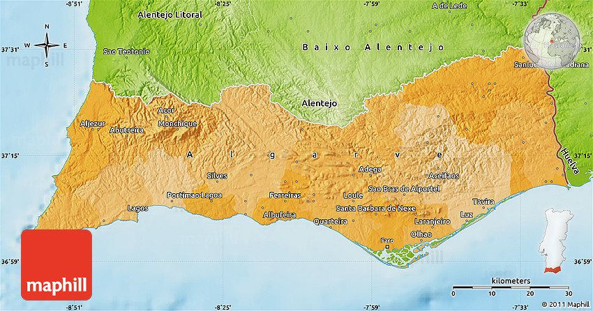 Political Map Of Algarve Physical Outside - Portugal map physical