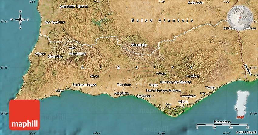 Satellite Map Of Algarve - Portugal map algarve region