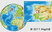 Physical Location Map of Celorico da Beira, highlighted parent region, highlighted grandparent region