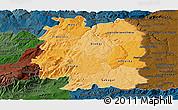 Political Shades Panoramic Map of Beira Interior Norte, darken
