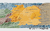 Political Shades Panoramic Map of Beira Interior Norte, semi-desaturated