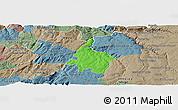 Political Panoramic Map of Pinhel, semi-desaturated