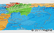 Political Shades Panoramic Map of Beira Interior Sul