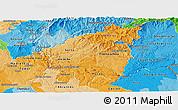 Political Shades Panoramic Map of Pinhal Interior Sul